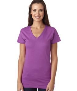 LAT L3607 - Juniors' Fine Jersey V-Neck Longer Length T-Shirt