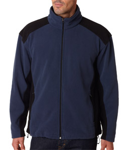 Ultra Club 8496 - Adult Full-Zip Color-Block Micro-Fleece ...