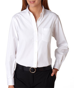 Van Heusen V0110 - Ladies' Long-Sleeve Blended Pinpoint Oxford