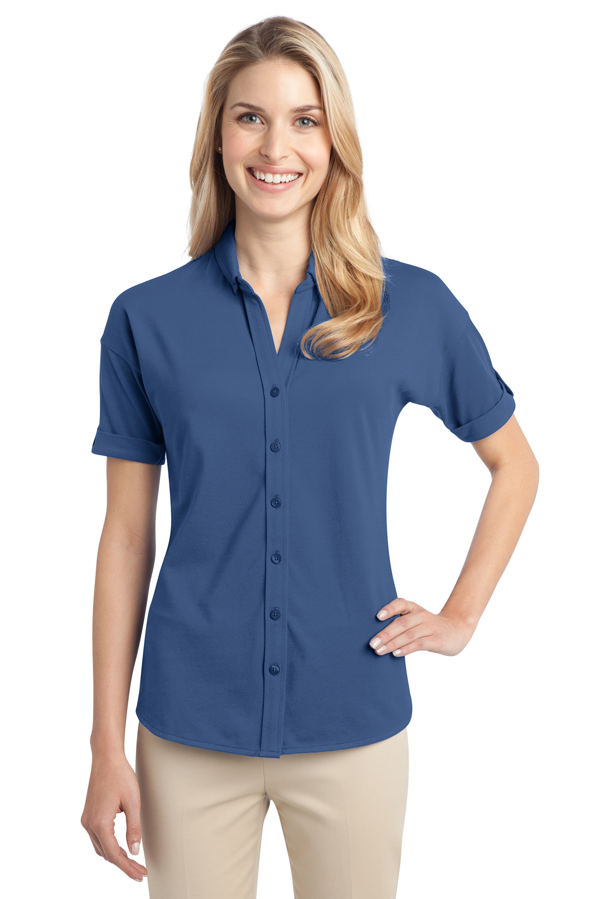 Port Authority® L556 Ladies Stretch Pique Button-...