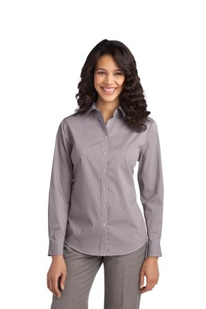 Port Authority® L647 Ladies Fine Stripe Stretch Poplin Shirt