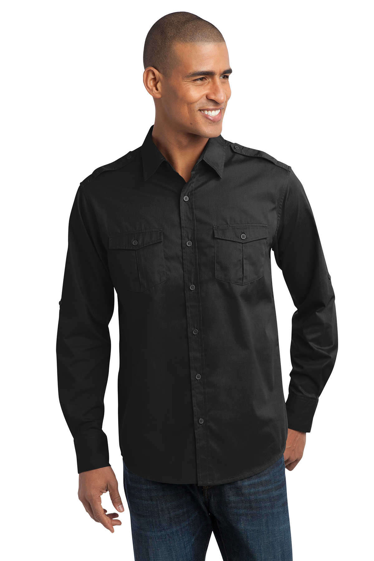 Port Authority® S649 Stain-Resistant Roll Sleeve Twill Shirt