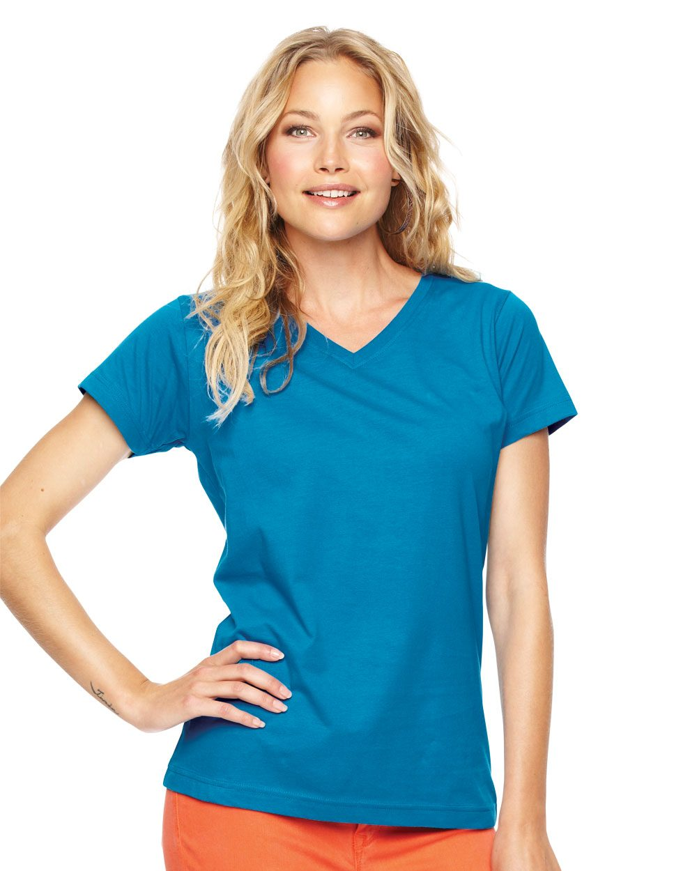 LAT 3507 - Ladies' V-Neck Fine Jersey T-Shirt