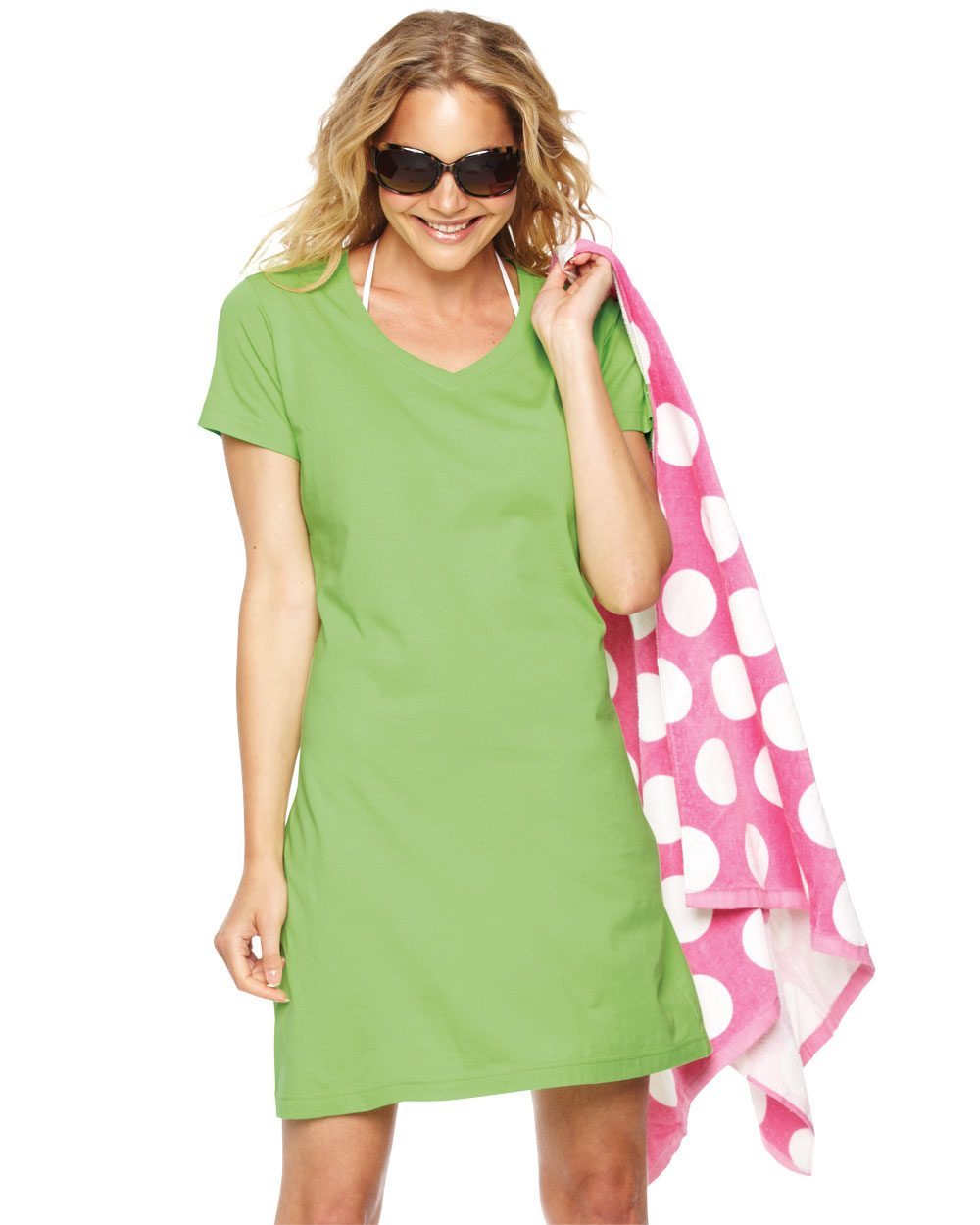 LAT 3522 - Ladies' Fine Jersey V-Neck Coverup