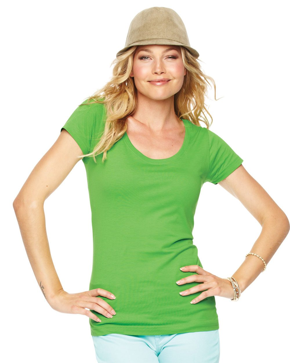 LAT 3604 - Junior's Fine Jersey Longer Length Deep Scoopneck ...