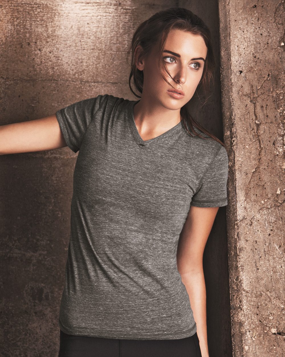 alo - Ladies' Triblend Short Sleeve V-neck T-Shirt