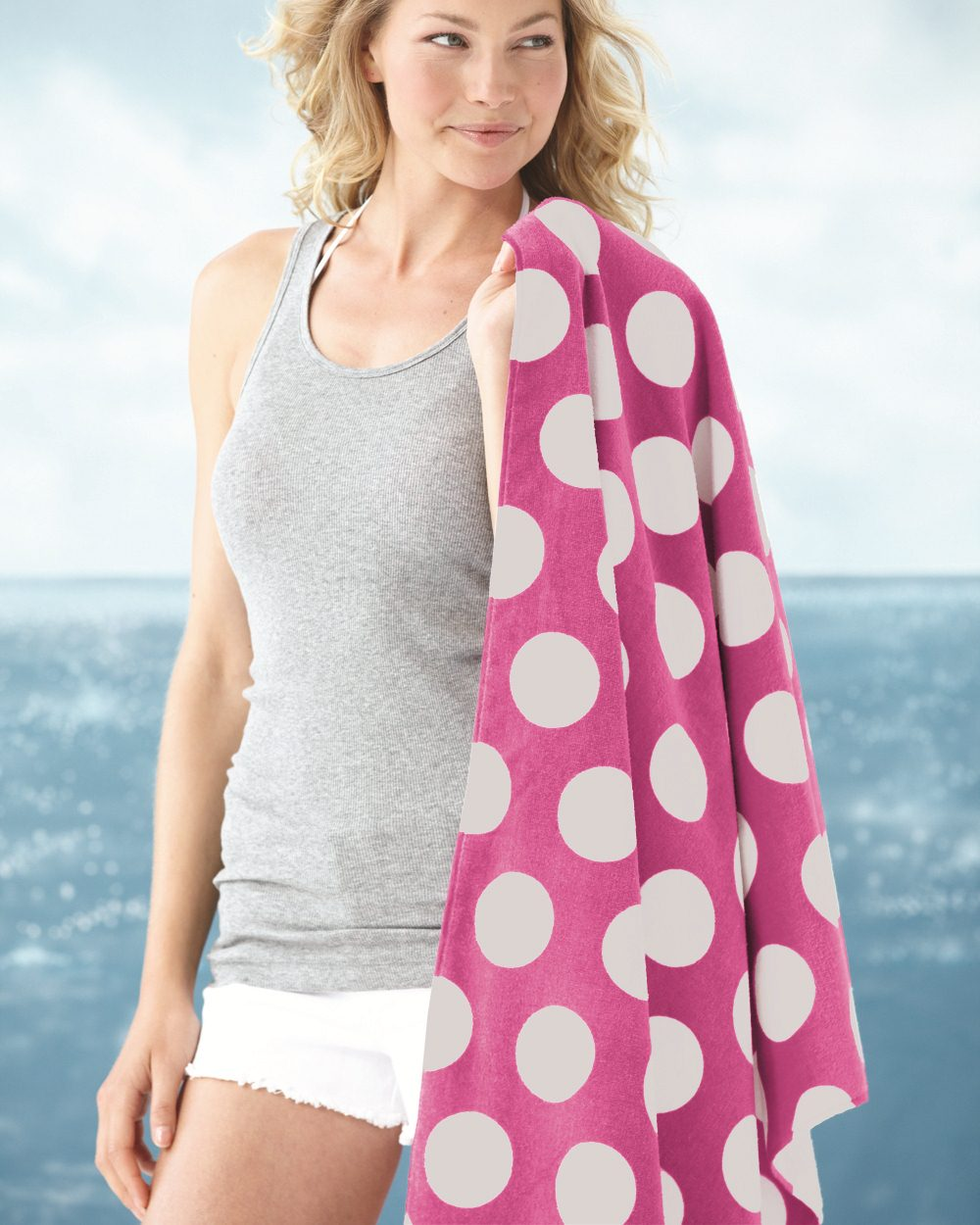 Carmel Towel Company 3060P - Polka Dot Velour Beach Towel