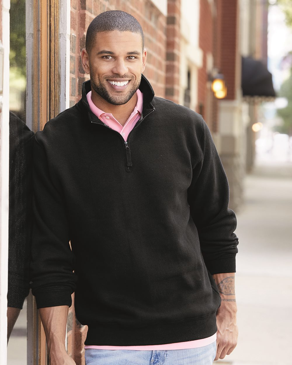 J America 8634 - Heavyweight Quarter-Zip Fleece Sweatshirt