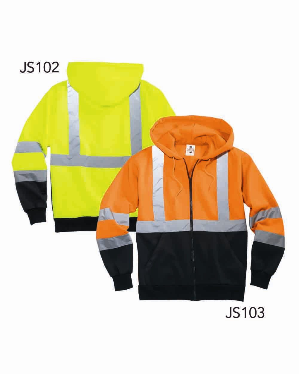 ML Kishigo JS102-103 - Hi-Vis Hooded Full-Zip Sweatshirt