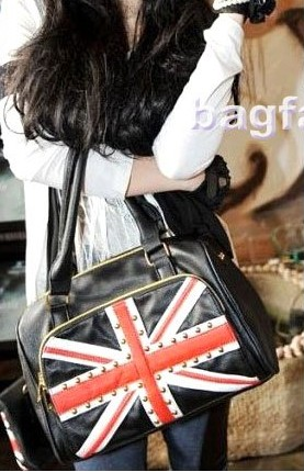 Bag Fashion 5808 - Ladies Fashion Black Rivet Bag Flag ...