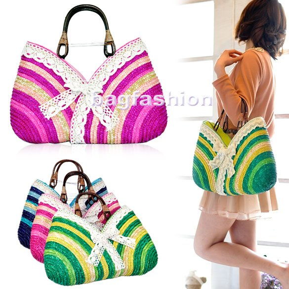 Bag Fashion 7137 - Summer Straw Bag Sweet Lady Rainbow ...