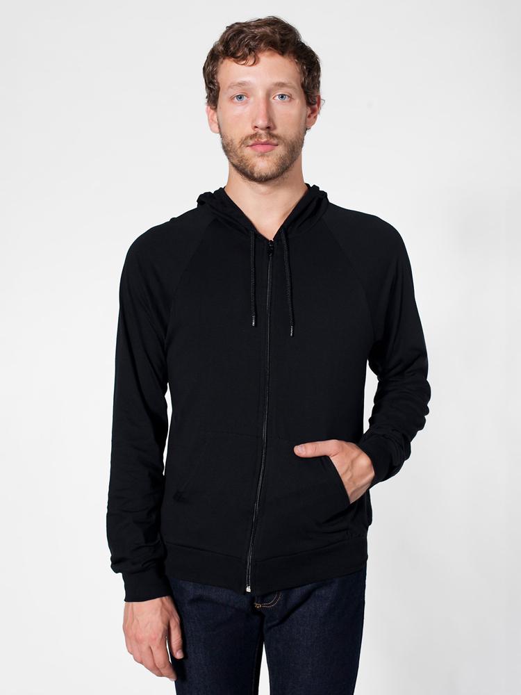American Apparel RSA2402 - Unisex Fine Jersey Zip Hood
