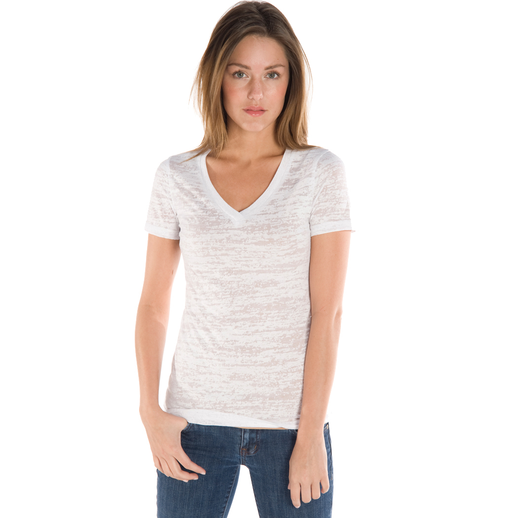 In Your Face H02 - Juniors' V-Neck Burnout Tee