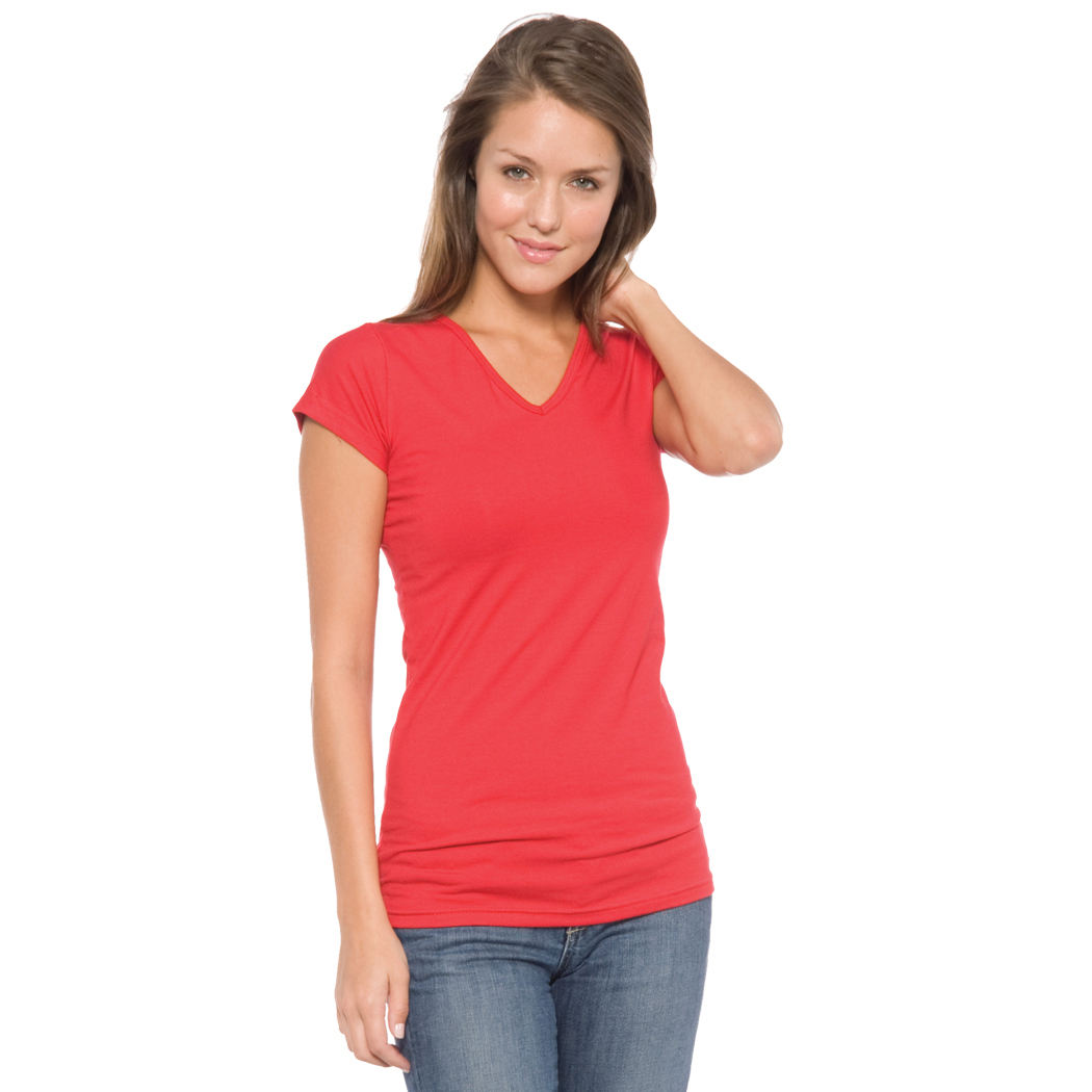 In Your Face A17 - Juniors' V-Neck Cap Sleeve