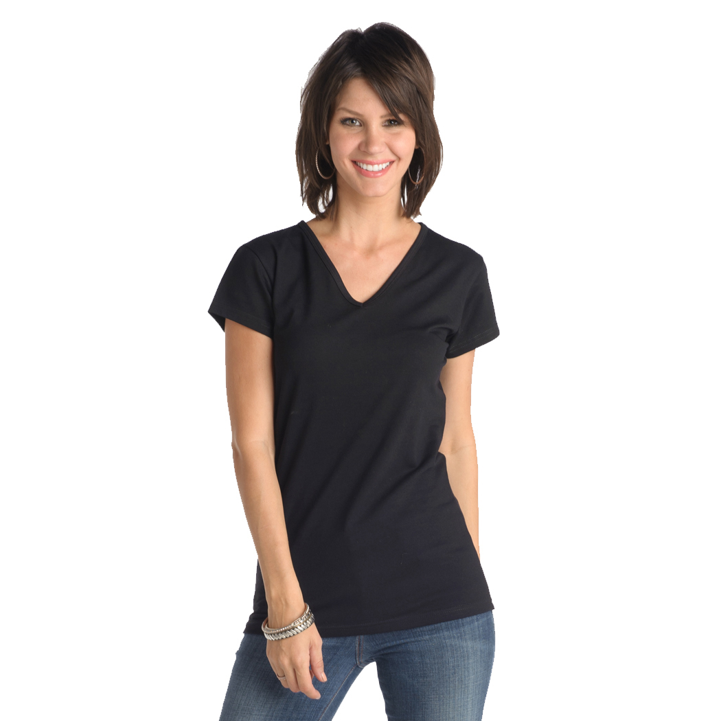 In Your Face A18 - Misses Cotton V-Neck Cap Sleeve