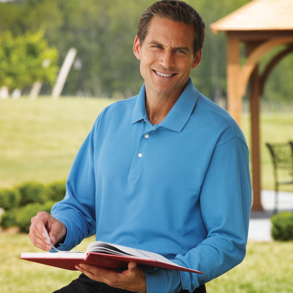Jonathan Corey 104 - Long-Sleeve Fine Pima Cotton Pique Sport Shirt
