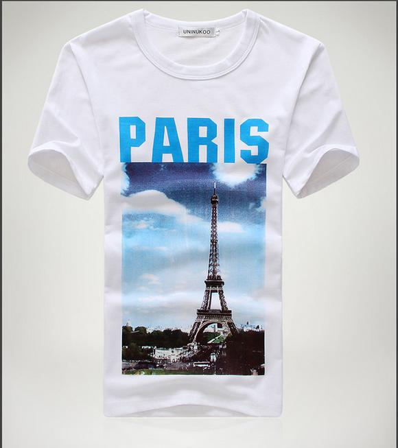 Cage Corner MTS219 - Men Crew Neck Shirt With Eiffel ...