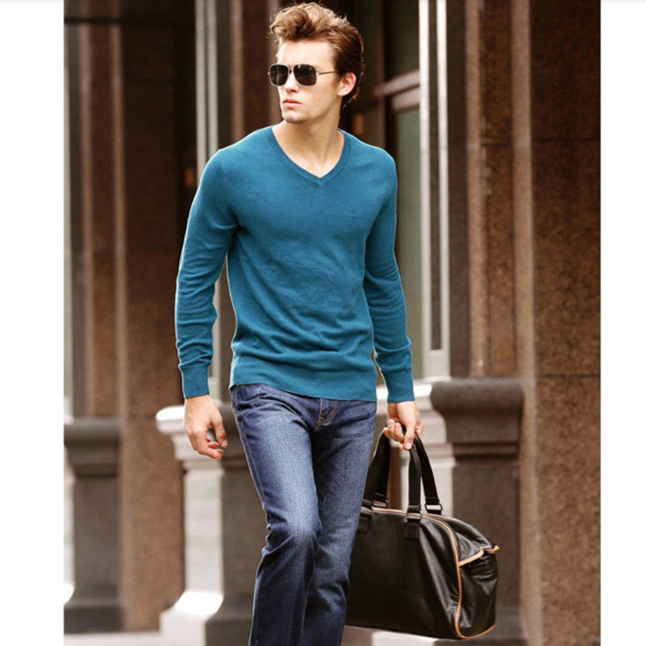 Cage Corner MZL028 - Men's V-Neck Thin Sweater