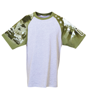 Everyday Life 100-24 - Army Print Raglan Jersey Tees