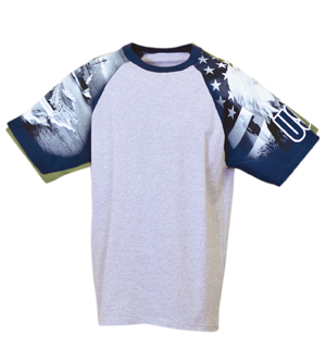 Everyday Life 100-25 - Navy Print Raglan Jersey Tees