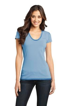 District - Juniors Faded Rounded Deep V-Neck Tee. DT2202