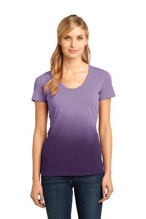 District Made - Ladies Dip Dye Rounded Deep V-Neck Tee....