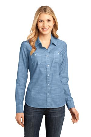 District Made - Ladies Long Sleeve Washed Woven Shirt....