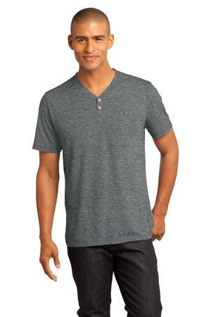 District Made - Mens Tri-Blend Short Sleeve Henley Tee....