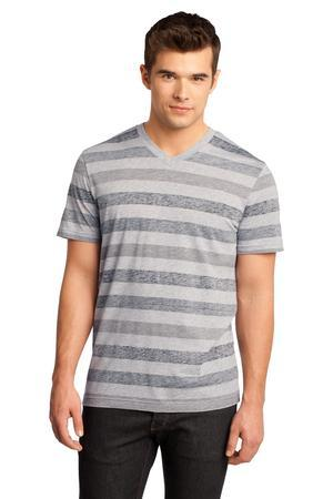 District - Young Mens Reverse Striped V-Neck Tee. DT129