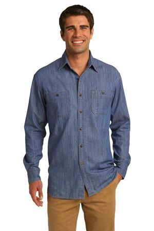 Port Authority® Denim Shirt with Patch Pockets. ...