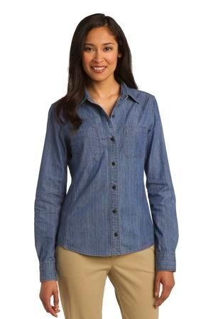 Port Authority® L652 - Ladies Denim Shirt with ...