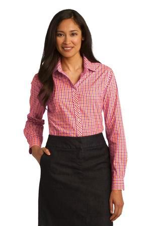 Port Authority® L654 - Ladies Long Sleeve Gingham ...