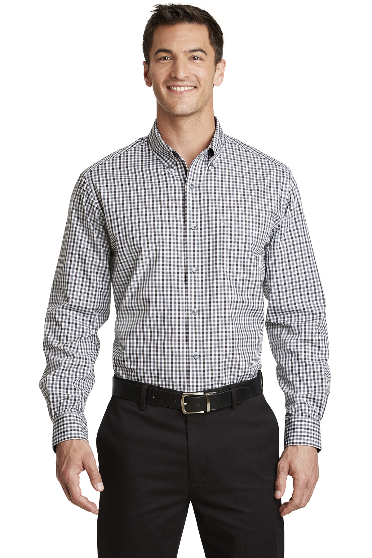 Port Authority® S654 - Long Sleeve Gingham Easy ...
