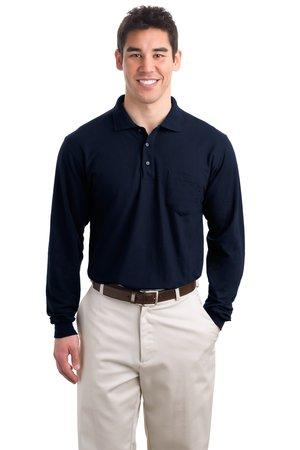 Port Authority® Tall Silk Touch Long Sleeve Polo ...