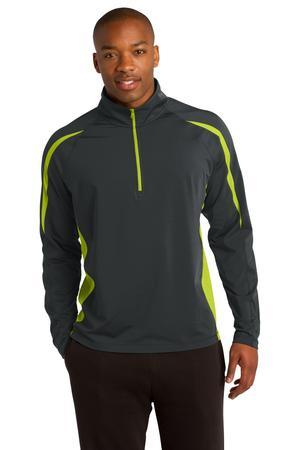 Sport-Tek Sport-Wick Stretch 1/2-Zip Colorblock Pullover....