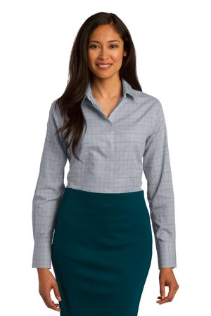 Red House Ladies Windowpane Plaid Non-Iron Shirt. RH71