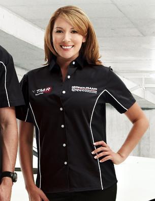 TMR 904 女士撞色镶边装饰短袖T恤工作服