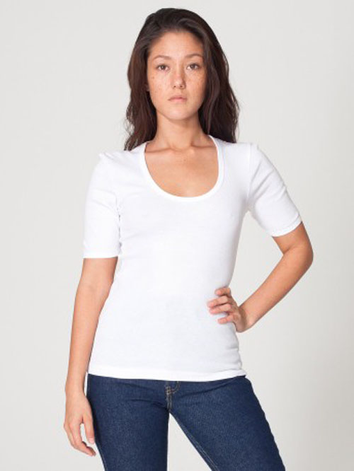 American Apparel 4362 - Baby Rib 1/2 Sleeve U-Neck Tee
