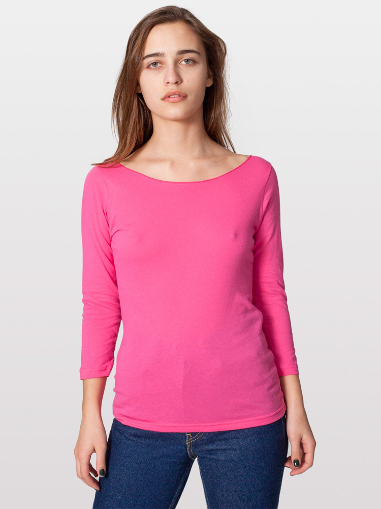 American Apparel 6344 - Sheer Jersey 3/4 Sleeve Boatneck