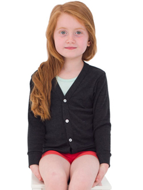 American Apparel BR100 - Kid's Tri-Blend Ribbed Cardigan