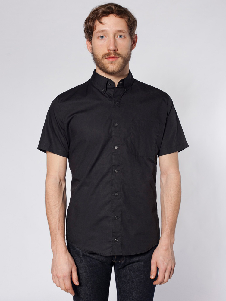 American Apparel RSACP401S - Poplin Short Sleeve Button-...