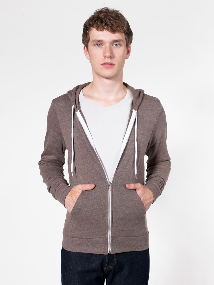 American Apparel TRT497 - Unisex Tri-Blend Terry Zip ...
