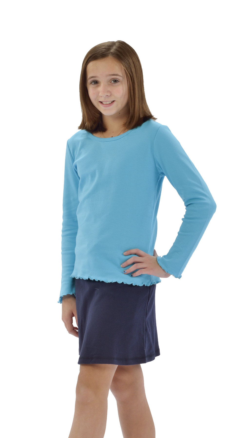 Monag 400014 - Interlock Lettuce Long Sleeve Girly Tee