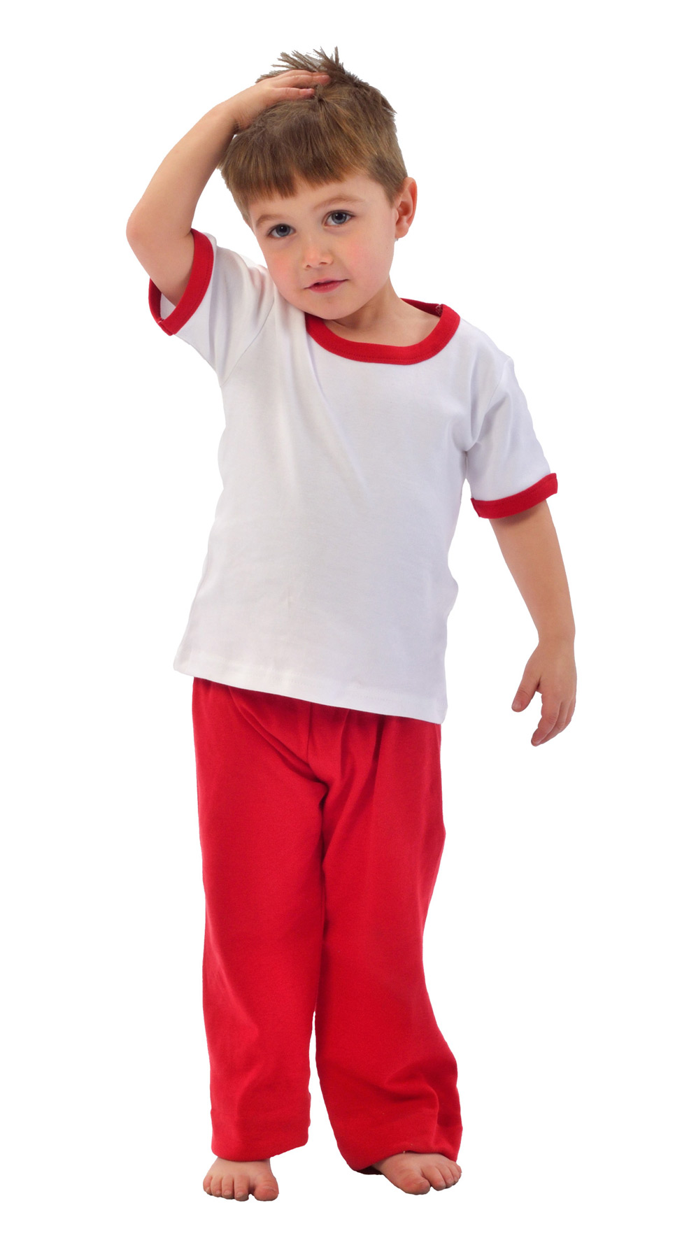 Monag 400020 连锁边短袖撞色滚边纯色T恤