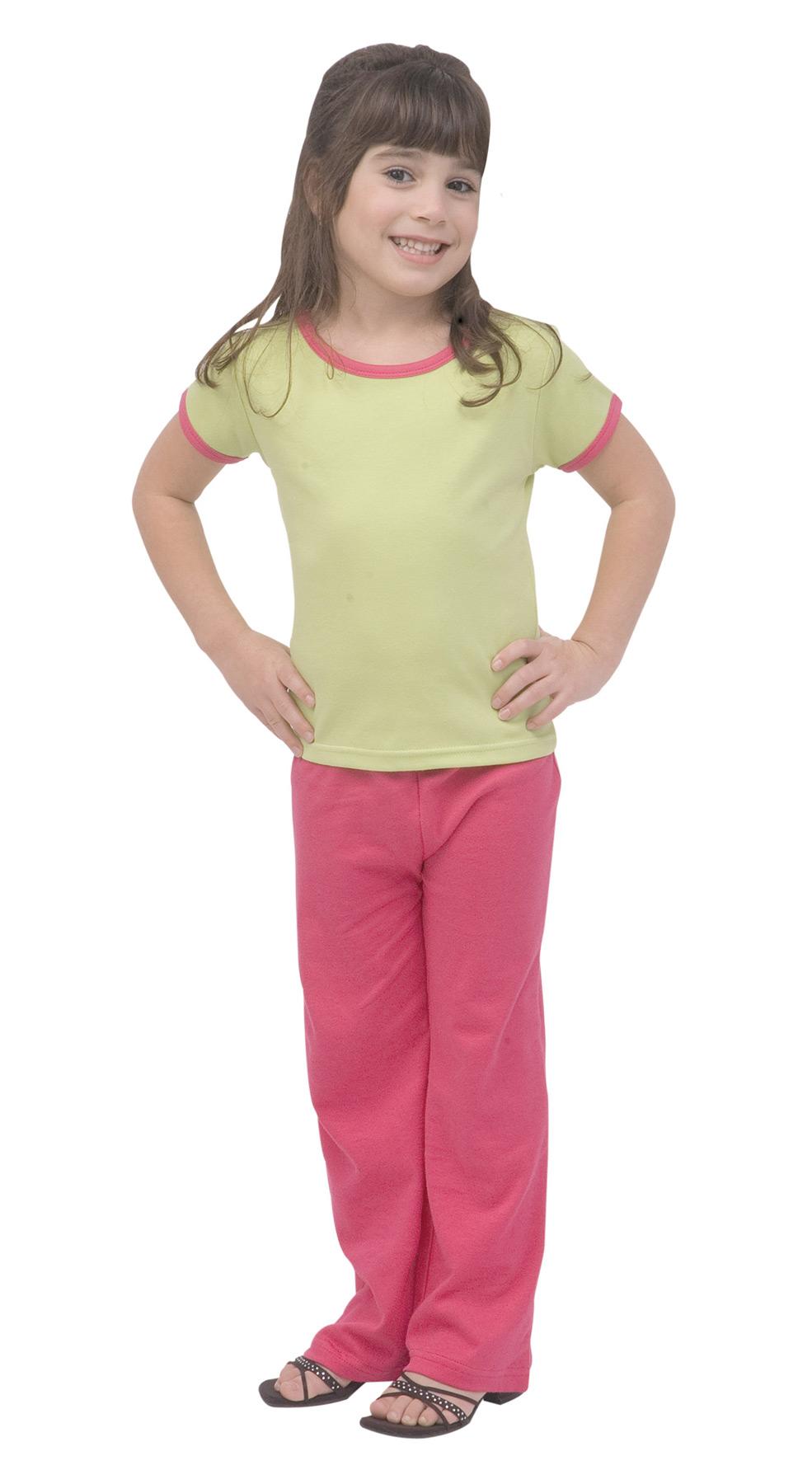 Monag 400027 连锁边短袖女孩 撞色滚边纯色T恤