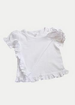 Monag S400094 - Interlock Short Sleeve Frill Tee - Unstiched on 1 side