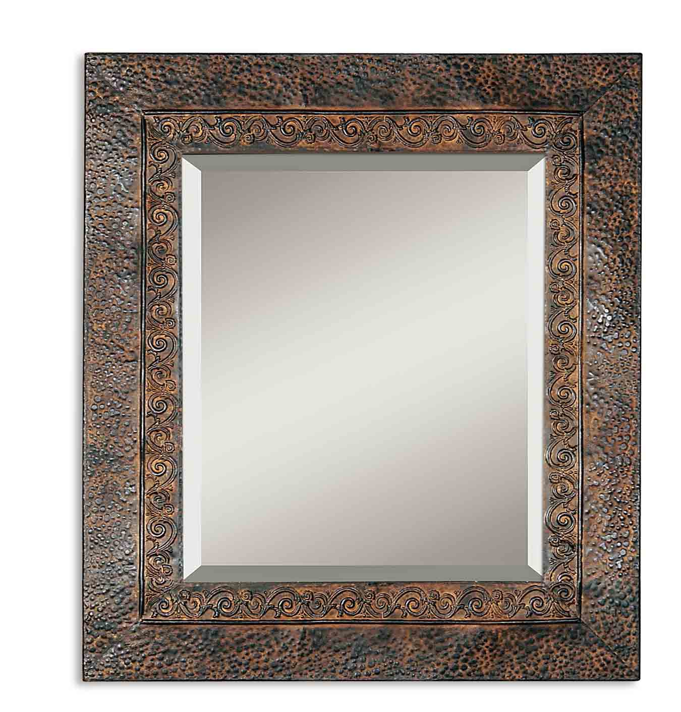 Uttermost 11182 b jackson rustic metal mirror for Metal frame mirror