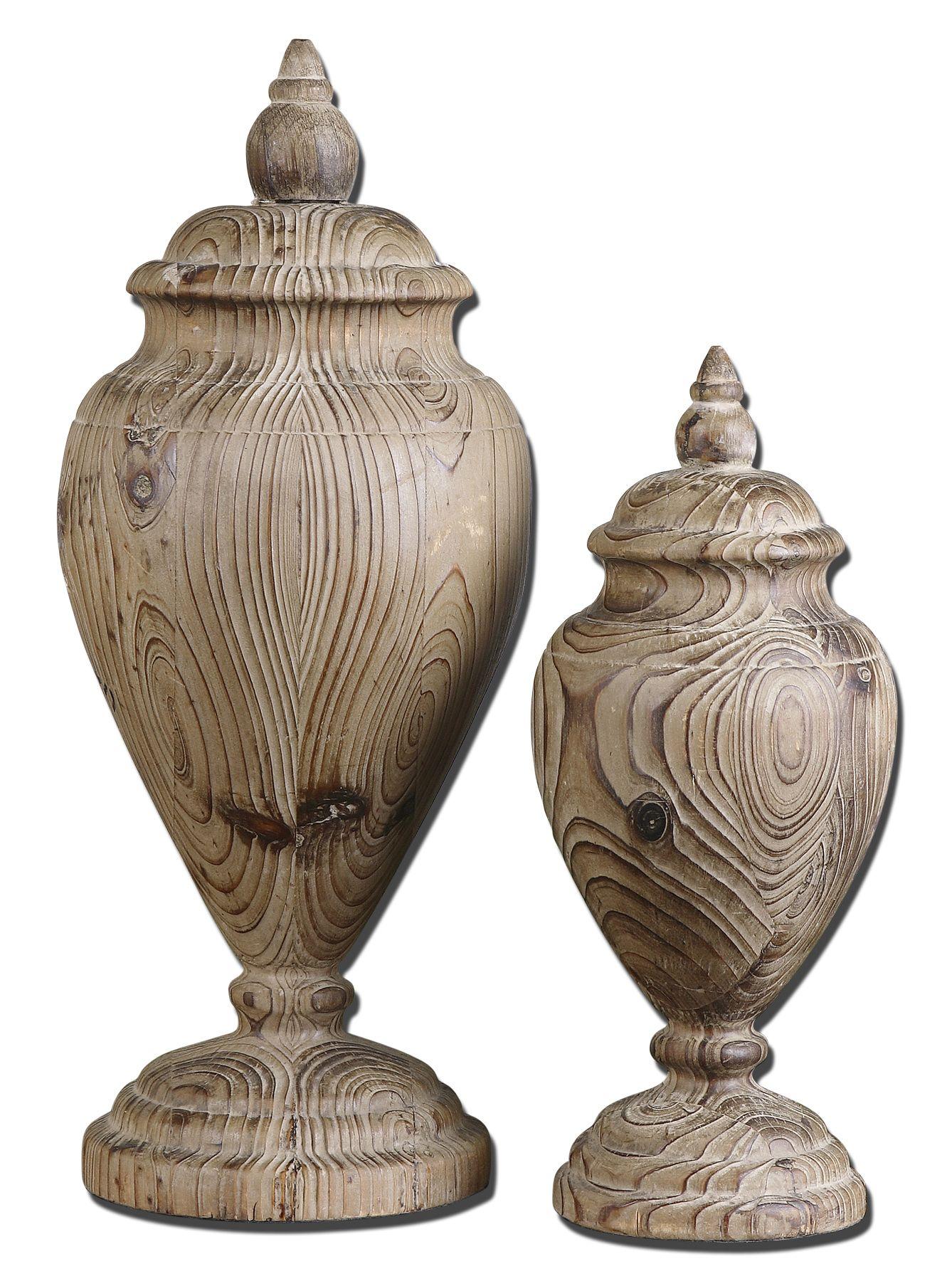 Uttermost 19613 Brisco Carved Wood Finials Set/2