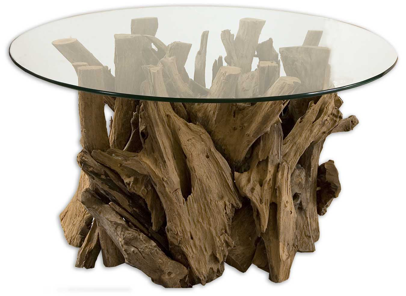 Uttermost 25519 Driftwood Glass Top Cocktail Table