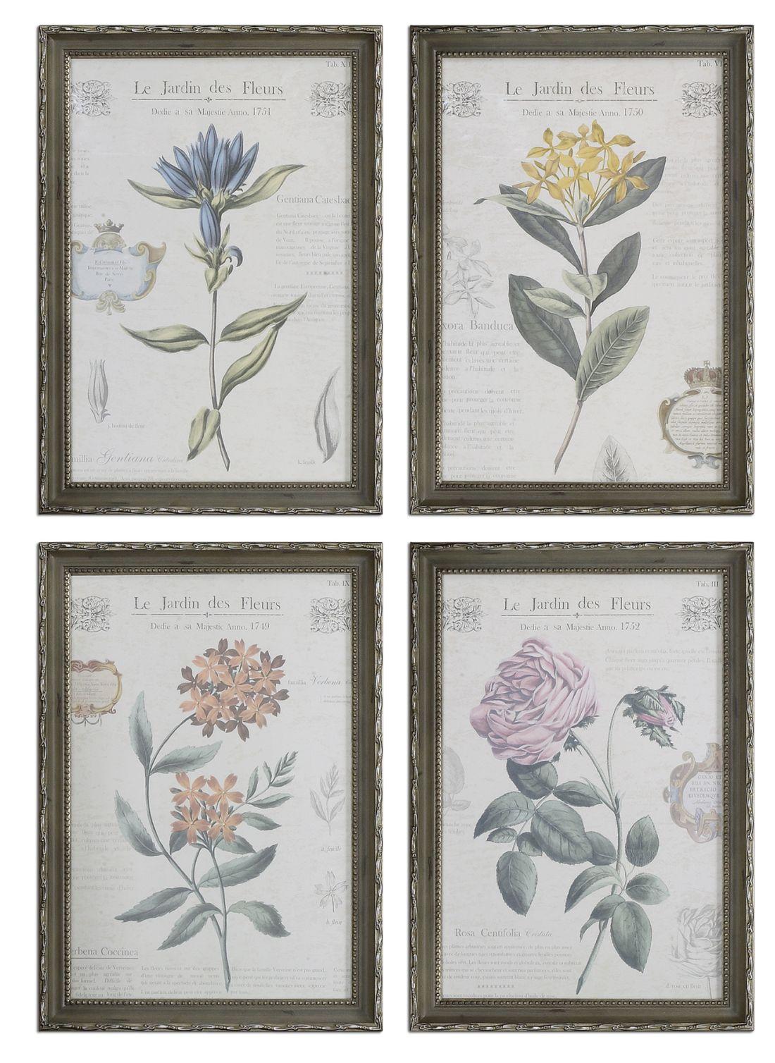 Uttermost 33593 Le Jardin Des Fleurs Floral Art Set 4